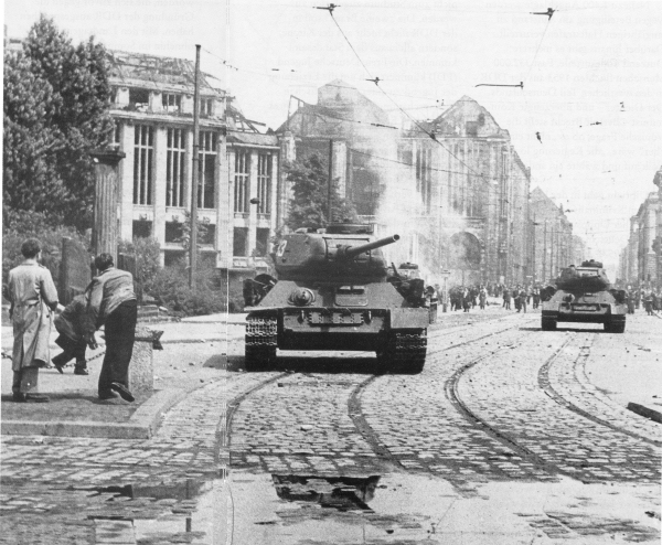 Soviet Tanks roll into Berlin 1953