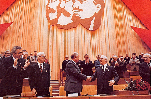 Gorbachev, Honecker and Egon Krenz at the 11th Party Conference 1986, Berlin