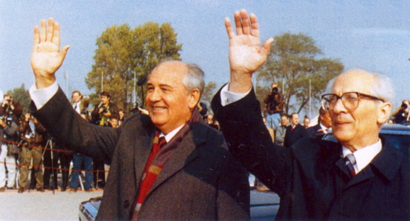 Gorbachev and Honecker, 1989